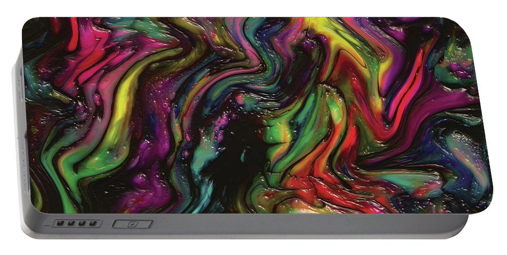 Abstract Portable Battery Charger featuring the digital art Dancing Spectrum by Amy Nordby