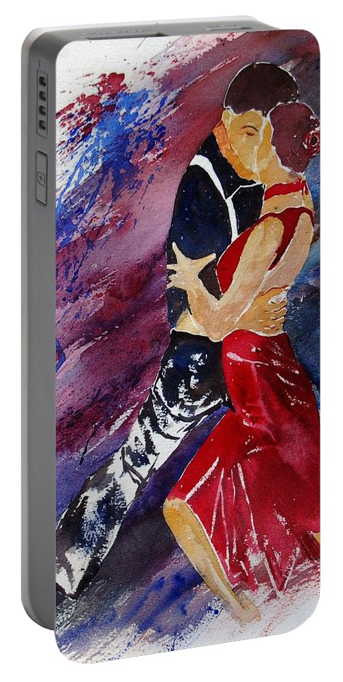 Tango Portable Battery Charger featuring the painting Dancing Tango by Pol Ledent