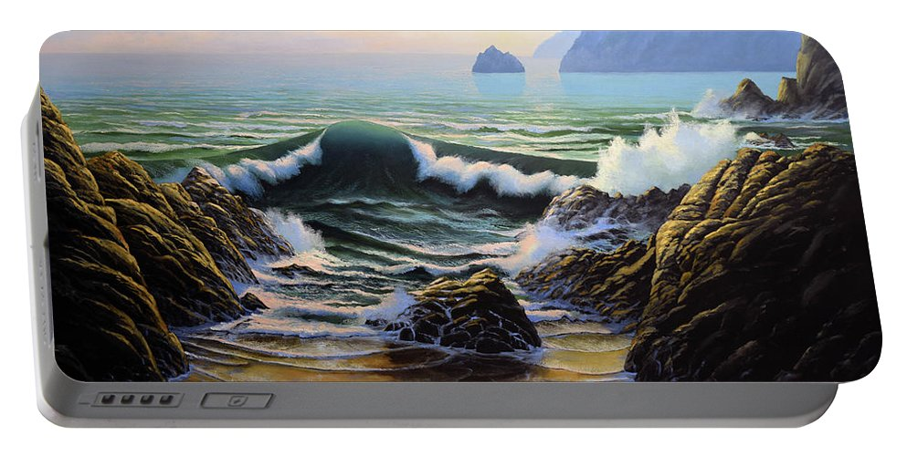 Dancing Tide Portable Battery Charger featuring the painting Dancing Tide by Frank Wilson
