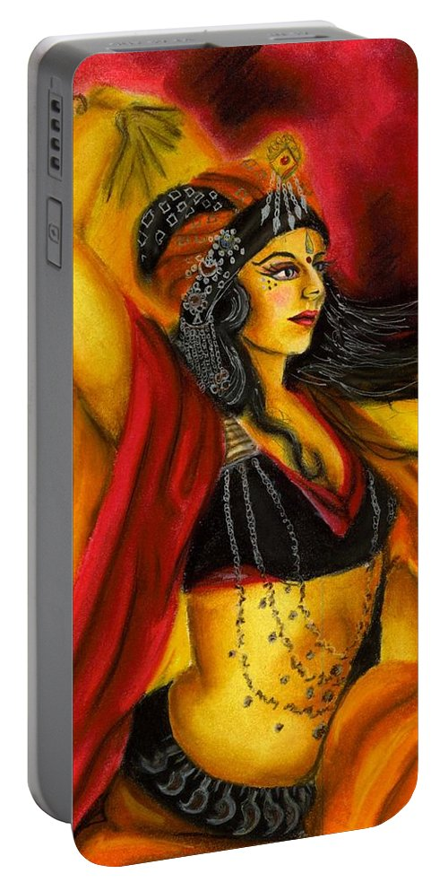 Belly Dancer Portable Battery Charger featuring the drawing Dancing with Fire by Scarlett Royal