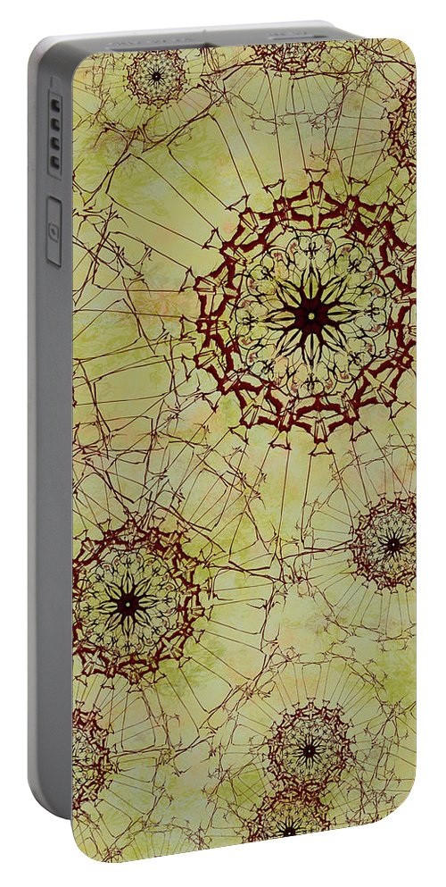 Abstract Portable Battery Charger featuring the digital art Dandelion Nosegay by Kristin Doner