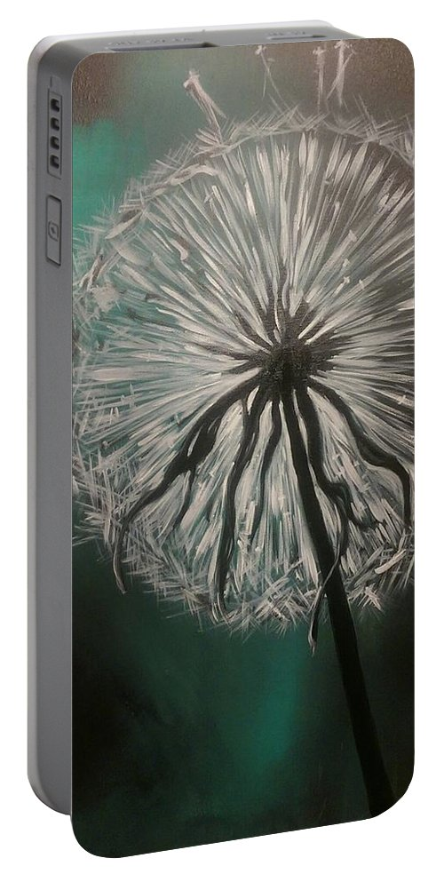 Dandelion Portable Battery Charger featuring the painting Dandelion Phatansie by Angelika Schafer