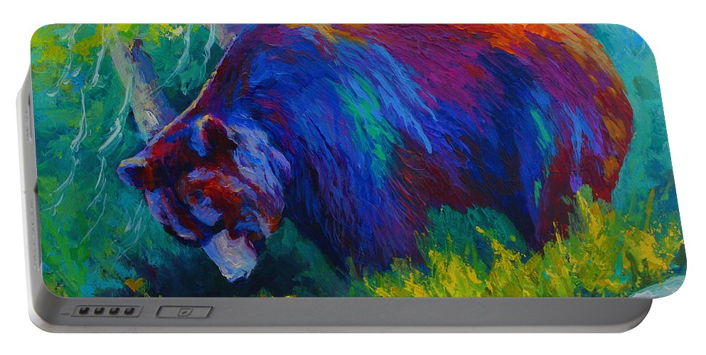 Western Portable Battery Charger featuring the painting Dandelions For Dinner - Black Bear by Marion Rose
