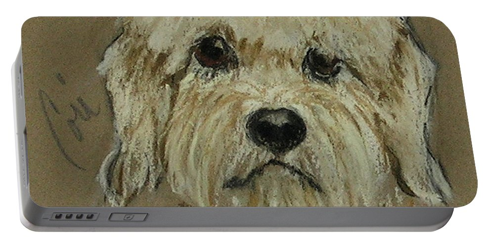 Dandie Dinmont Terrier Portable Battery Charger featuring the drawing Dandie by Cori Solomon
