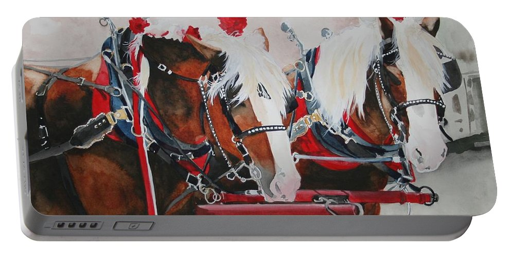 Horse Portable Battery Charger featuring the painting Dandy Duo by Jean Blackmer