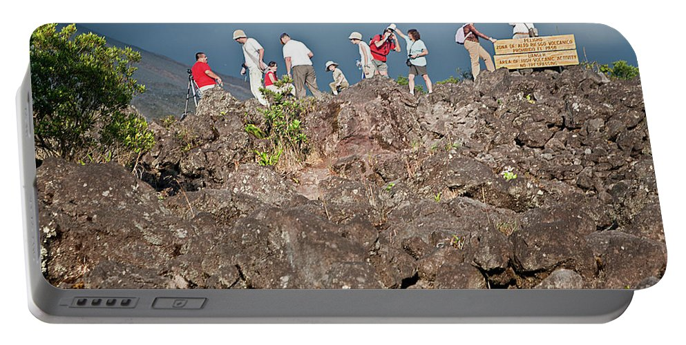 Volcano Portable Battery Charger featuring the photograph Danger No Trespassing by Madeline Ellis