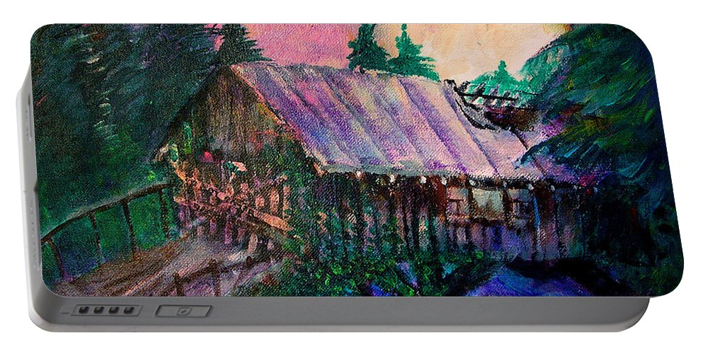 Dangerous Bridge Portable Battery Charger featuring the painting Dangerous Bridge by Seth Weaver