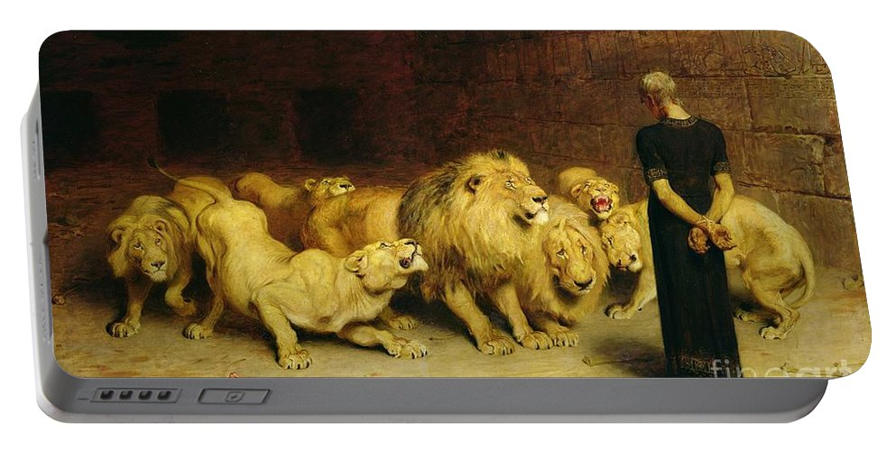 Daniel In The Lions' Den Portable Battery Charger featuring the painting Daniel In The Lions Den by Briton Riviere