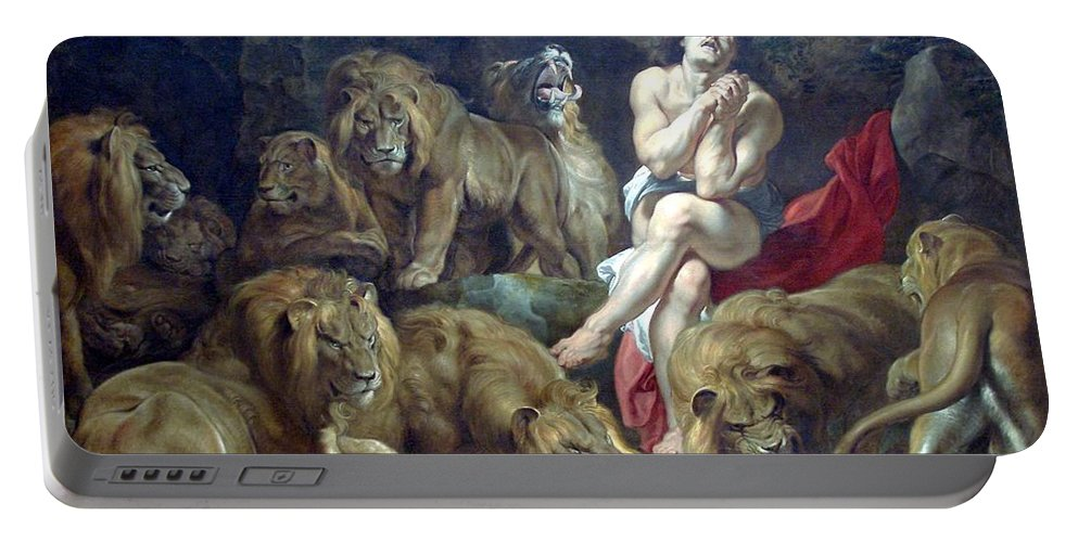 Peter Paul Rubens Portable Battery Charger featuring the digital art Daniel In The Lions Den by Peter Paul Rubens
