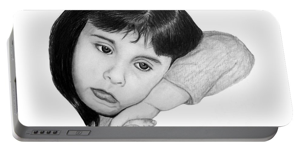 Portrait Sketch Portable Battery Charger featuring the drawing Dannie by Peter Piatt