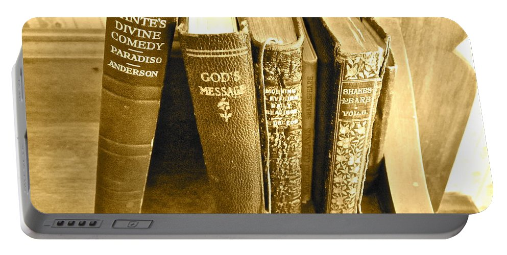 Photograph Of Old Books Portable Battery Charger featuring the photograph Dante God And Shakespeare ... by Gwyn Newcombe