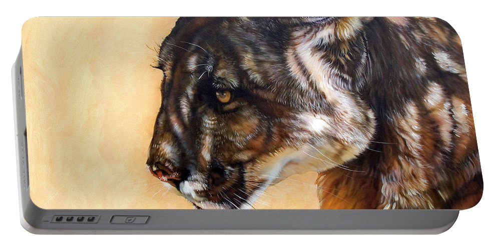 Catamount Portable Battery Charger featuring the painting Dappled by J W Baker