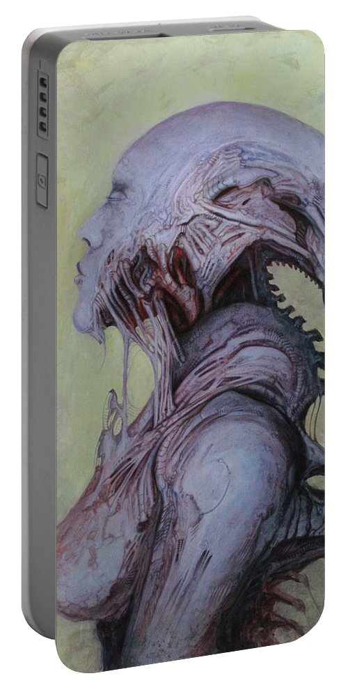 Horror Portable Battery Charger featuring the painting Dark Babylonian by Ed Schaap