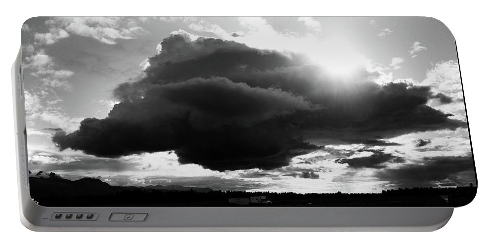 Black And White Portable Battery Charger featuring the photograph Dark Cloud by Ron Bissett