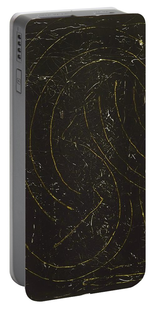 Abstract Art Portable Battery Charger featuring the painting Dark Energy With Lighting by John Dossman