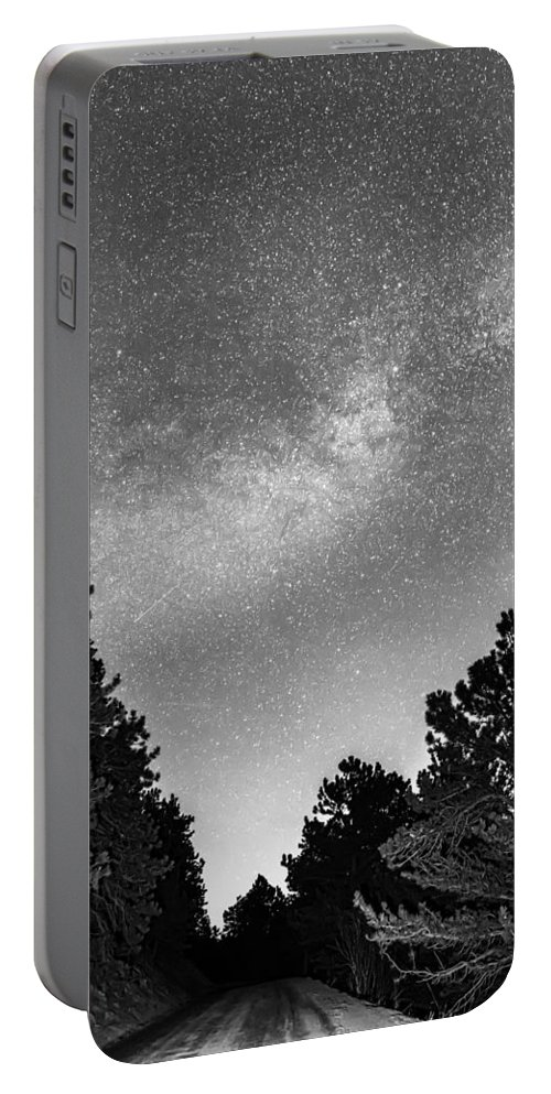 Road Portable Battery Charger featuring the photograph Dark Forest Night Light by James BO Insogna