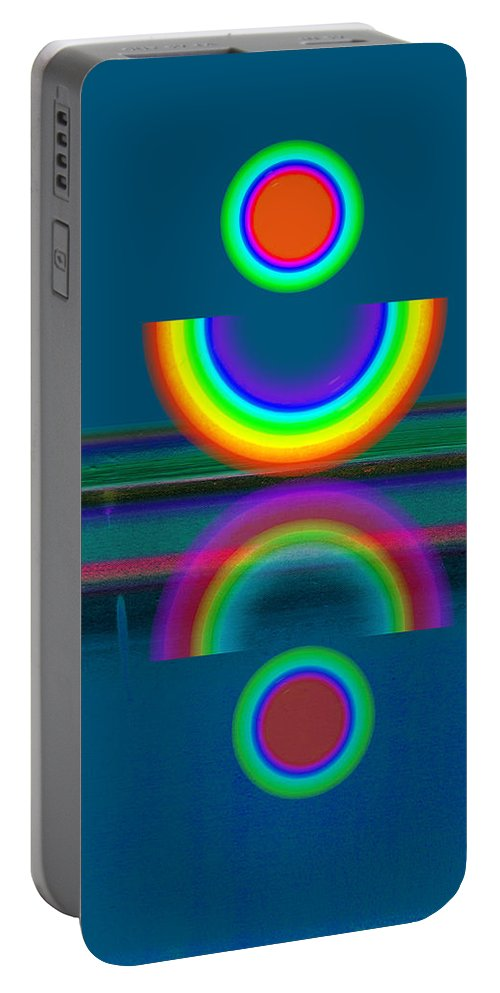 Reflections Portable Battery Charger featuring the painting Dark Mirror by Charles Stuart
