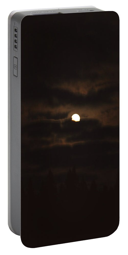 Moon Clouds Night Evening Light Cloudy Sky Trees Moonlight Moonlit Portable Battery Charger featuring the photograph Dark Night by Andrea Lawrence