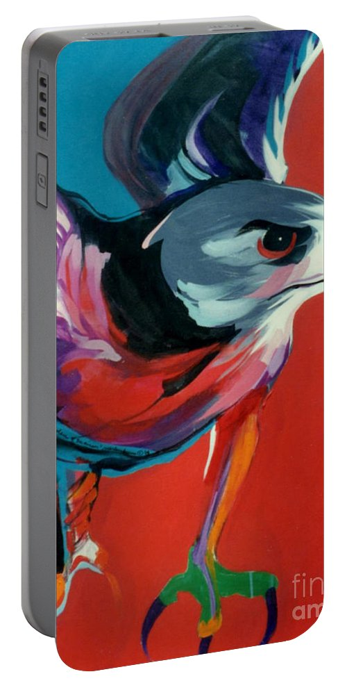 Raptor Portable Battery Charger featuring the painting Dark Phase Of Swainson by Marlene Burns