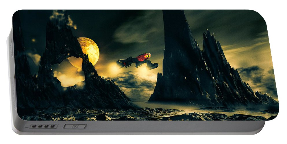 Science Fiction Portable Battery Charger featuring the mixed media Dark Planet by Bob Orsillo