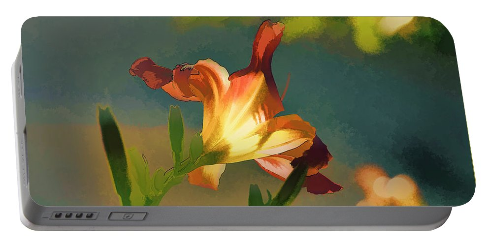 Linda Brody Portable Battery Charger featuring the digital art Dark Red Day Lily With Sun Shining Through I Abstract I by Linda Brody
