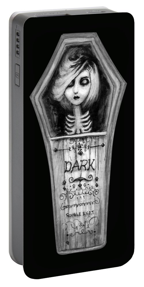 Coffin Portable Battery Charger featuring the painting Dark by Rouble Rust