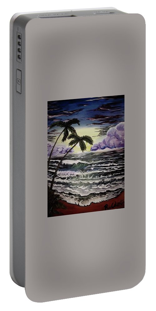 Ocean Portable Battery Charger featuring the painting Dark Storm Approaching by Rebecca Edenton