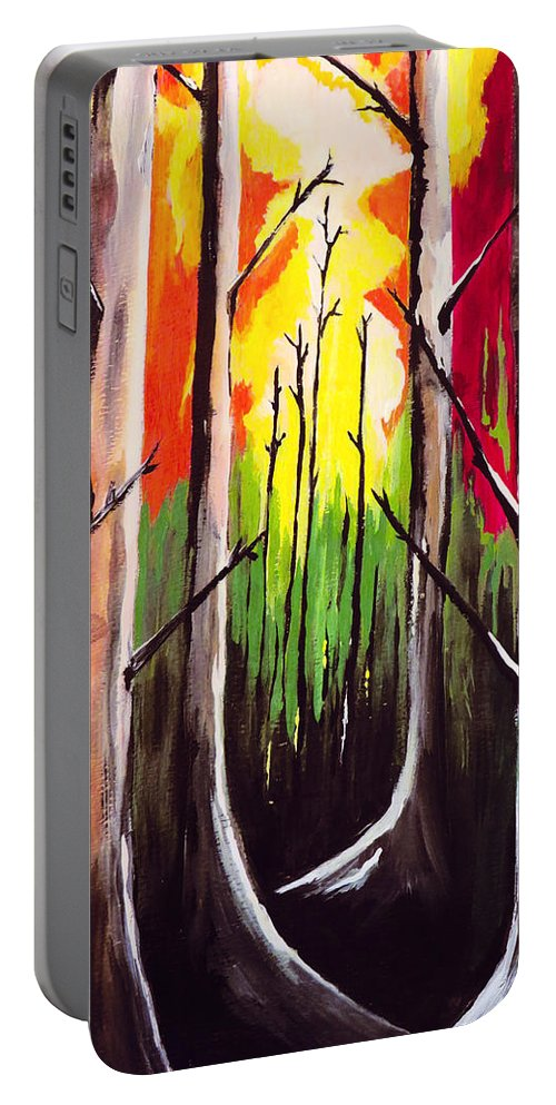 Landscape Art Portable Battery Charger featuring the painting Dark Woods by Kathleen Sartoris