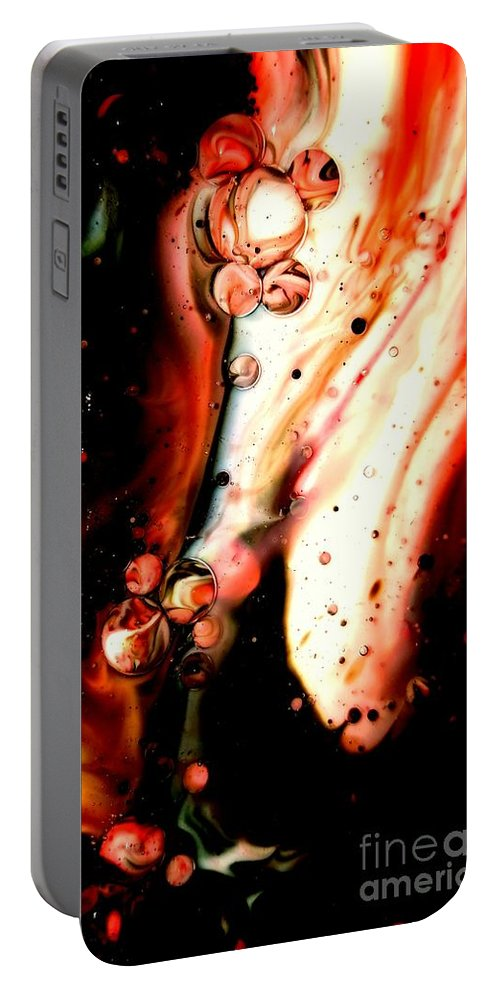 Abstract Portable Battery Charger featuring the mixed media Darkside by Lisa Roberts