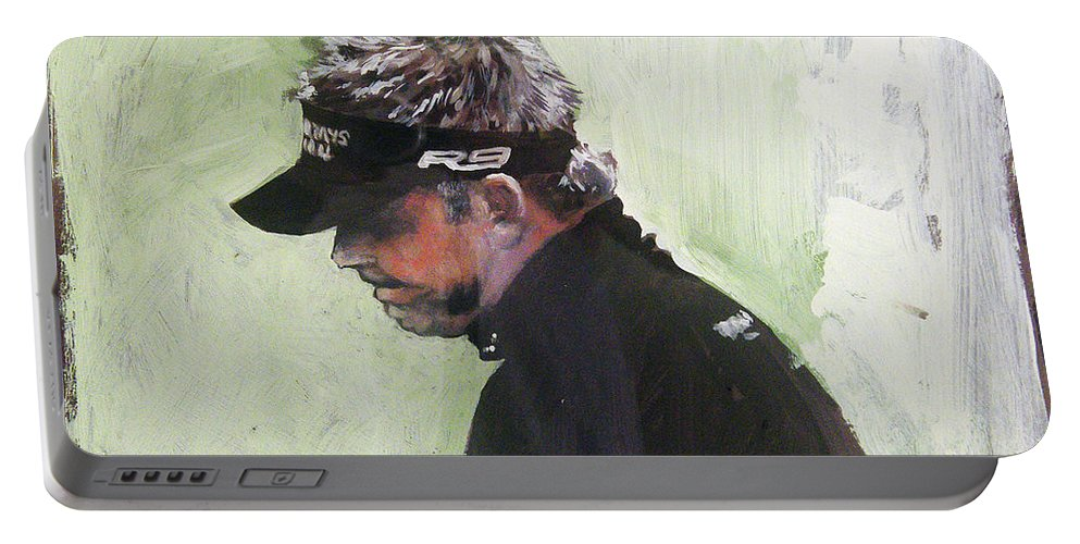 Darren Clarke Portable Battery Charger featuring the painting Darren Clarke by Mark Robinson