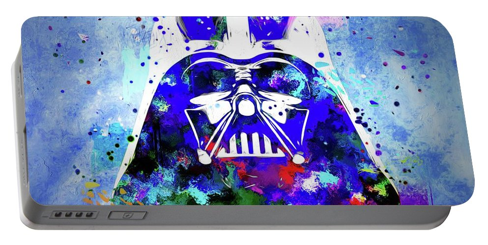 Darth Vader Portable Battery Charger featuring the painting Darth Vader by Daniel Janda