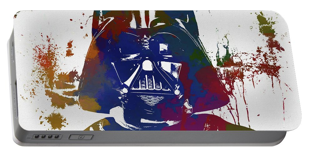 Darth Vader Paint Splatter Portable Battery Charger featuring the painting Darth Vader Paint Splatter by Dan Sproul
