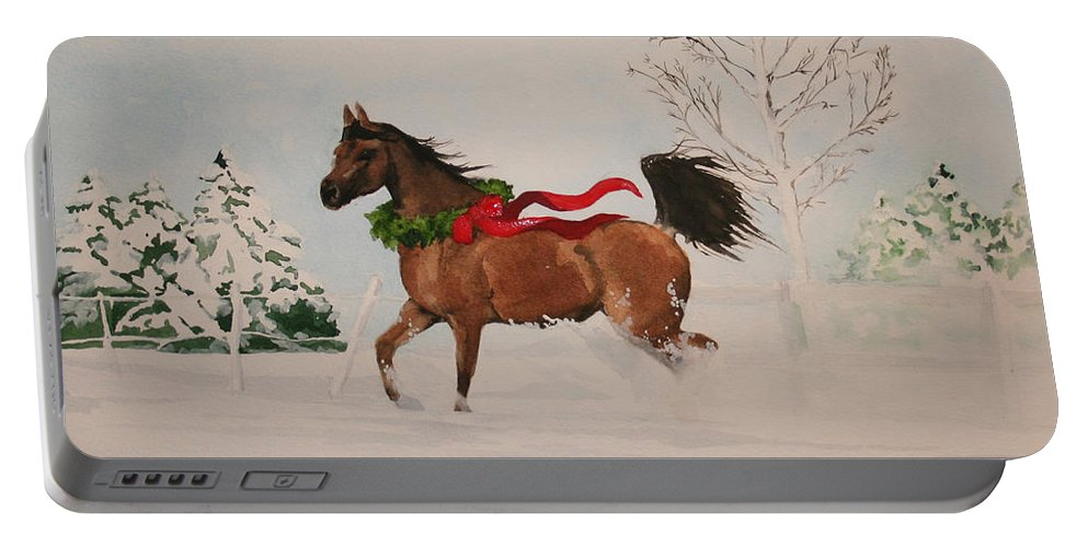 Horse Portable Battery Charger featuring the painting Dashing Thru The Snow by Jean Blackmer