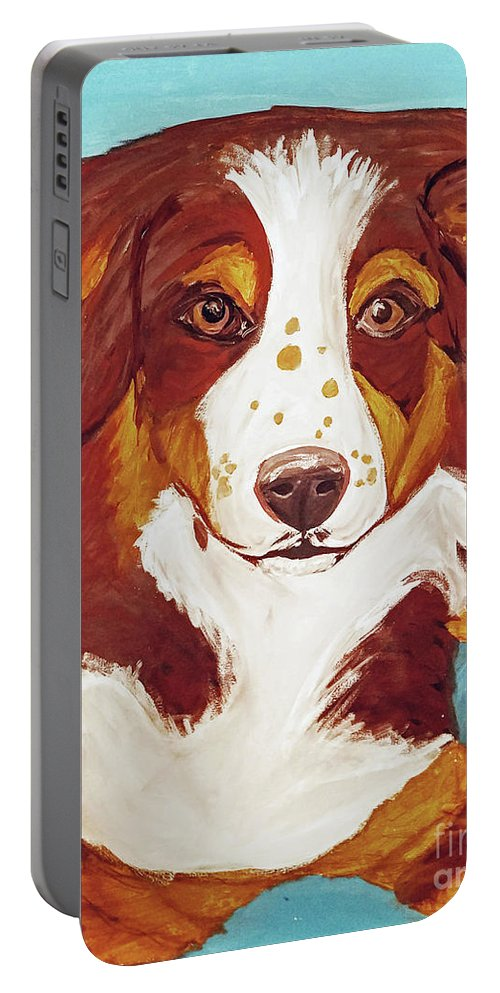 Dog Portable Battery Charger featuring the painting Date With Paint Feb 19 Finley by Ania M Milo