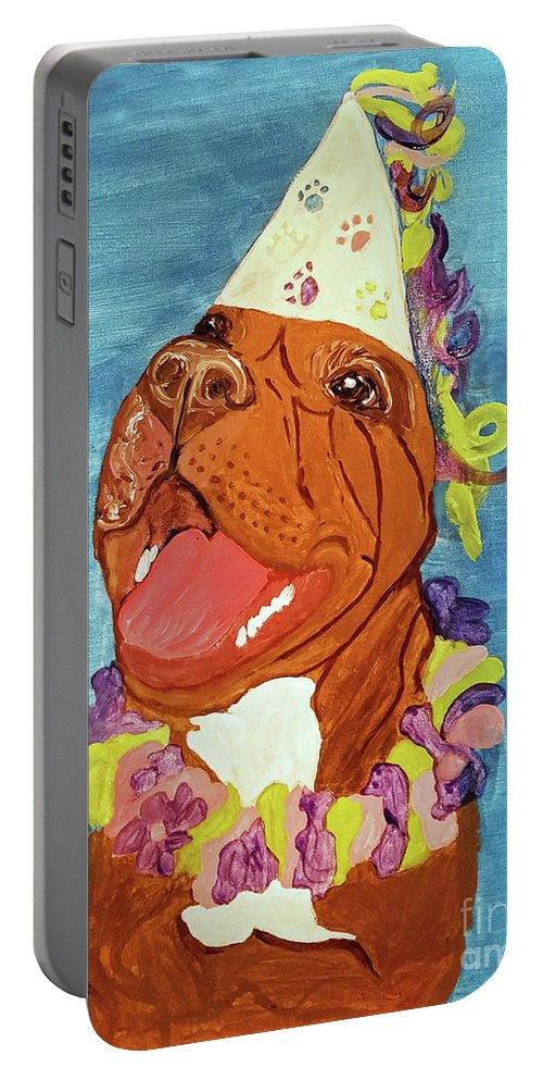 Pet Portable Battery Charger featuring the painting Date With Paint Feb 19 Kayna by Ania M Milo