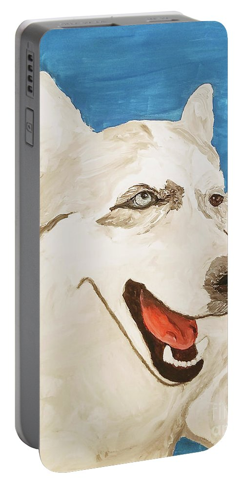 Dog Portable Battery Charger featuring the painting Date With Paint Feb 19 Layla by Ania M Milo