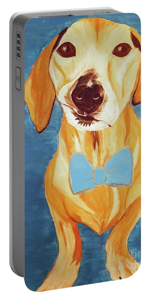 Pet Portable Battery Charger featuring the painting Date With Paint Feb 19 Rafee by Ania M Milo