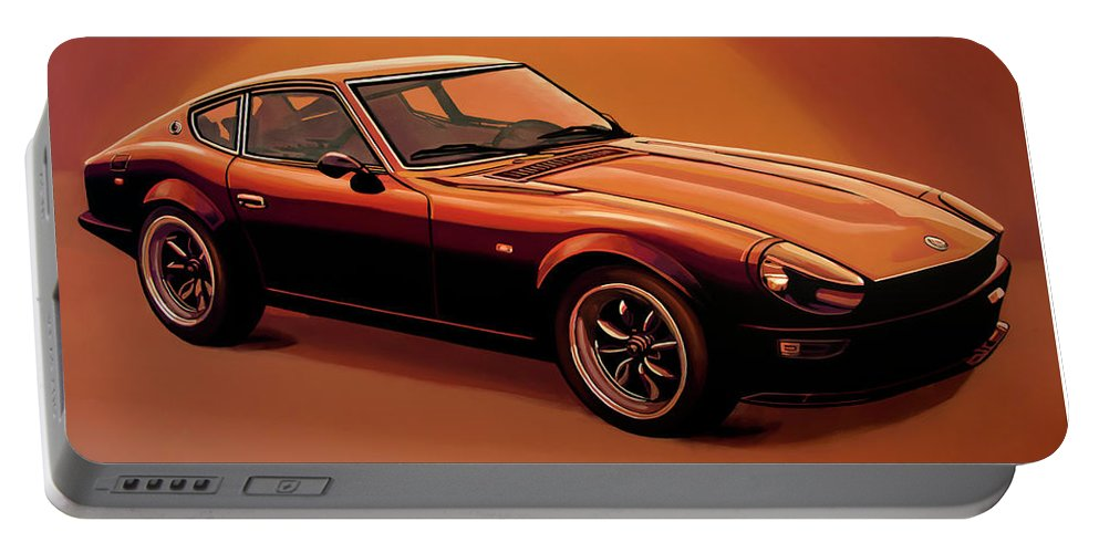 Datsun Portable Battery Charger featuring the painting Datsun 240z 1970 Painting by Paul Meijering