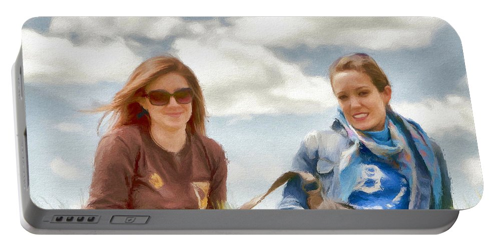 Canadian Portable Battery Charger featuring the painting Daughters by Jeffrey Kolker