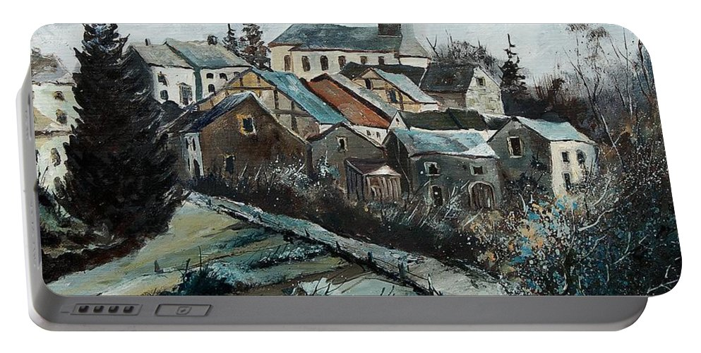 Village Portable Battery Charger featuring the painting Daverdisse 78 by Pol Ledent