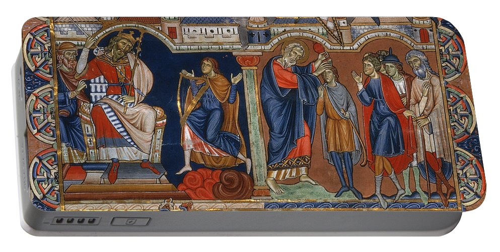 Ancient Portable Battery Charger featuring the painting David And Saul by Granger