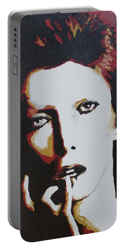 David Bowie Portable Battery Charger featuring the painting David Bowie by Ricklene Wren