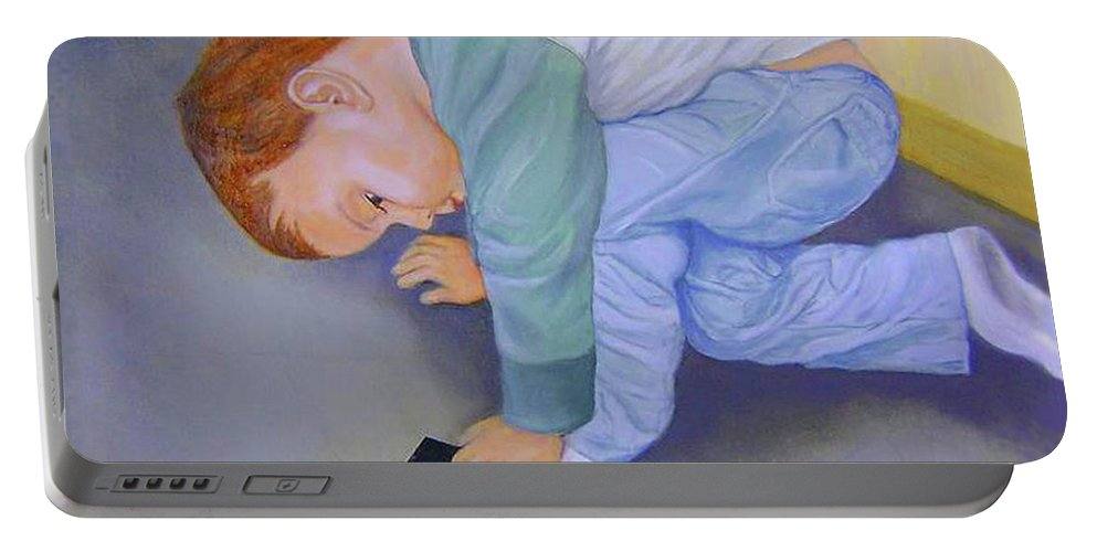 Portrait Portable Battery Charger featuring the painting Toy Train by Jane Honn