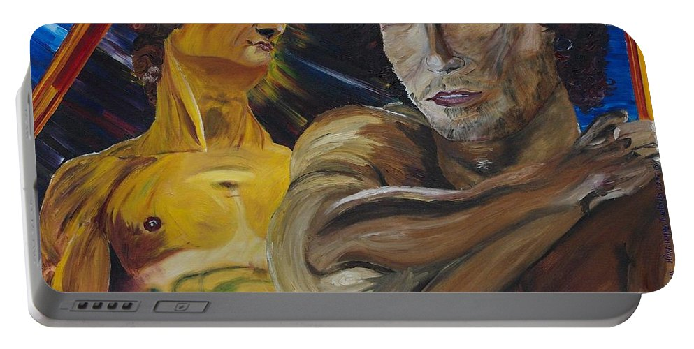 The David Portable Battery Charger featuring the painting David v. Hollywood by Modern Impressionism
