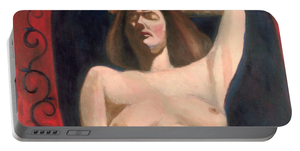 Figure Painting Portable Battery Charger featuring the painting David's Bathsheba by Kippax Williams