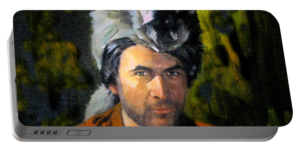 Davy Crockett Portable Battery Charger featuring the painting Davy Crockett by David Lee Thompson