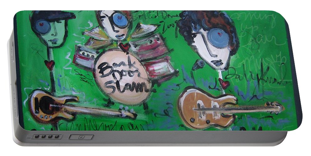 Davy Knowles Portable Battery Charger featuring the painting Davy Knowles And Back Door Slam by Laurie Maves ART