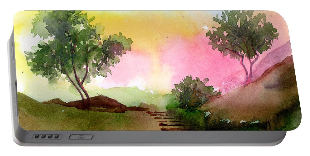 Landscape Portable Battery Charger featuring the painting Dawn by Anil Nene