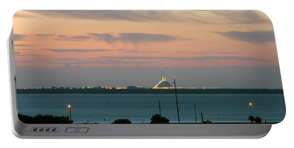 Sunshine Portable Battery Charger featuring the photograph Dawn At The Sunshine Skyway Bridge Viewed From Tierra Verde Florida by Mal Bray