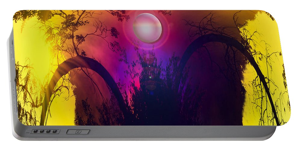 Trees Sky Stars Sun Planet Orb Space Moon Portable Battery Charger featuring the photograph Dawn In A New Era by Andrea Lawrence